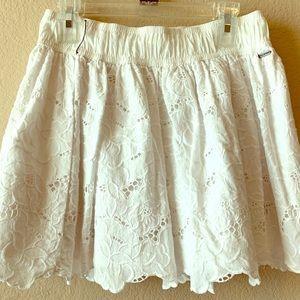 Hollister White Eyelet Floral Mini Skirt NWOT